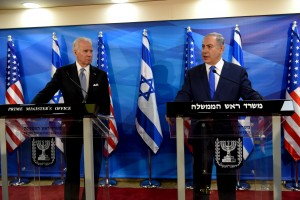 U.S. Vice President Joe Biden (L) stands next to Israeli Prime Minister Benjamin Netanyahu as they deliver joint statements during their meeting in Jerusalem March 9, 2016. REUTERS/Debbie Hill/Pool
