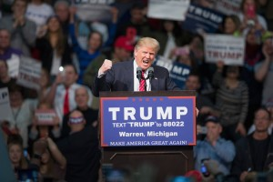WARREN, MI - MARCH 04:  Republican presidential candidate Donald Trump speaks to guests during a rally at Macomb Community College on March 4, 2016 in Warren, Michigan. Voters in Michigan will go to the polls March 8 for the State's primary.  (Photo by Scott Olson/Getty Images)