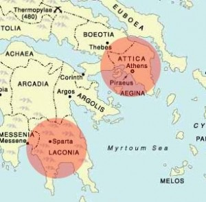 """development of athens and sparta Plot on a map sparta athens  """"the development of athenian democracy,"""" in adriaan lanni, ed, """"athenian law in its democratic context""""."""