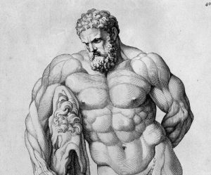 M0018007 Engraving of a statue of Hercules (in Farnese Palace), 1721