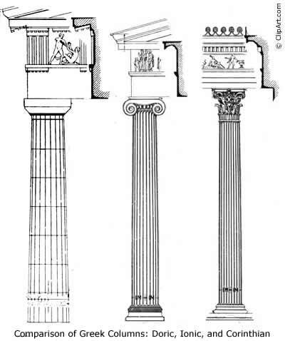 Generic Clipart Of Dorian Ionan And Corinthian Orders