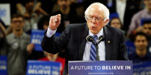 U.S. Democratic presidential candidate Bernie Sanders speaks at a campaign rally in New Brunswick