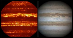Comparison of VISIR and visible light views of Jupiter