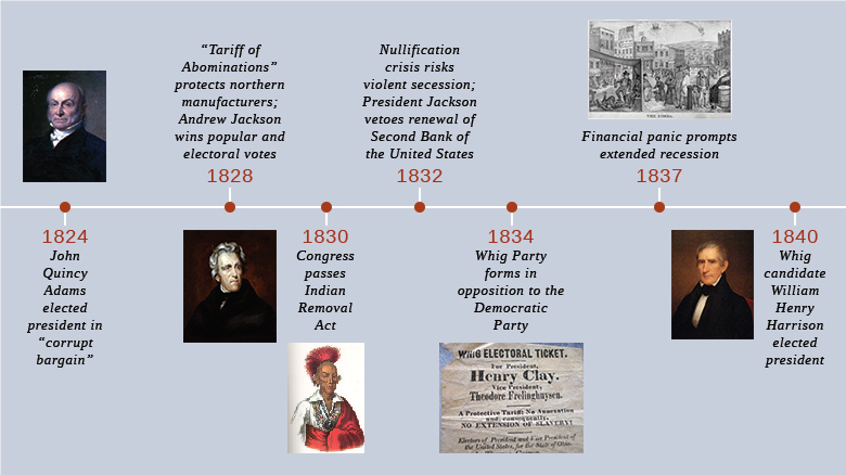 a history of the jacksonian democracy in the 1820s and 1830s in the united states The census of 1820 now includes 9,638,453 people living in the united states, 33% more than in 1810 the most populated state is new york, with 1,372,812 residents the center of us population now reaches 16 miles east of moorefield, west virginia.