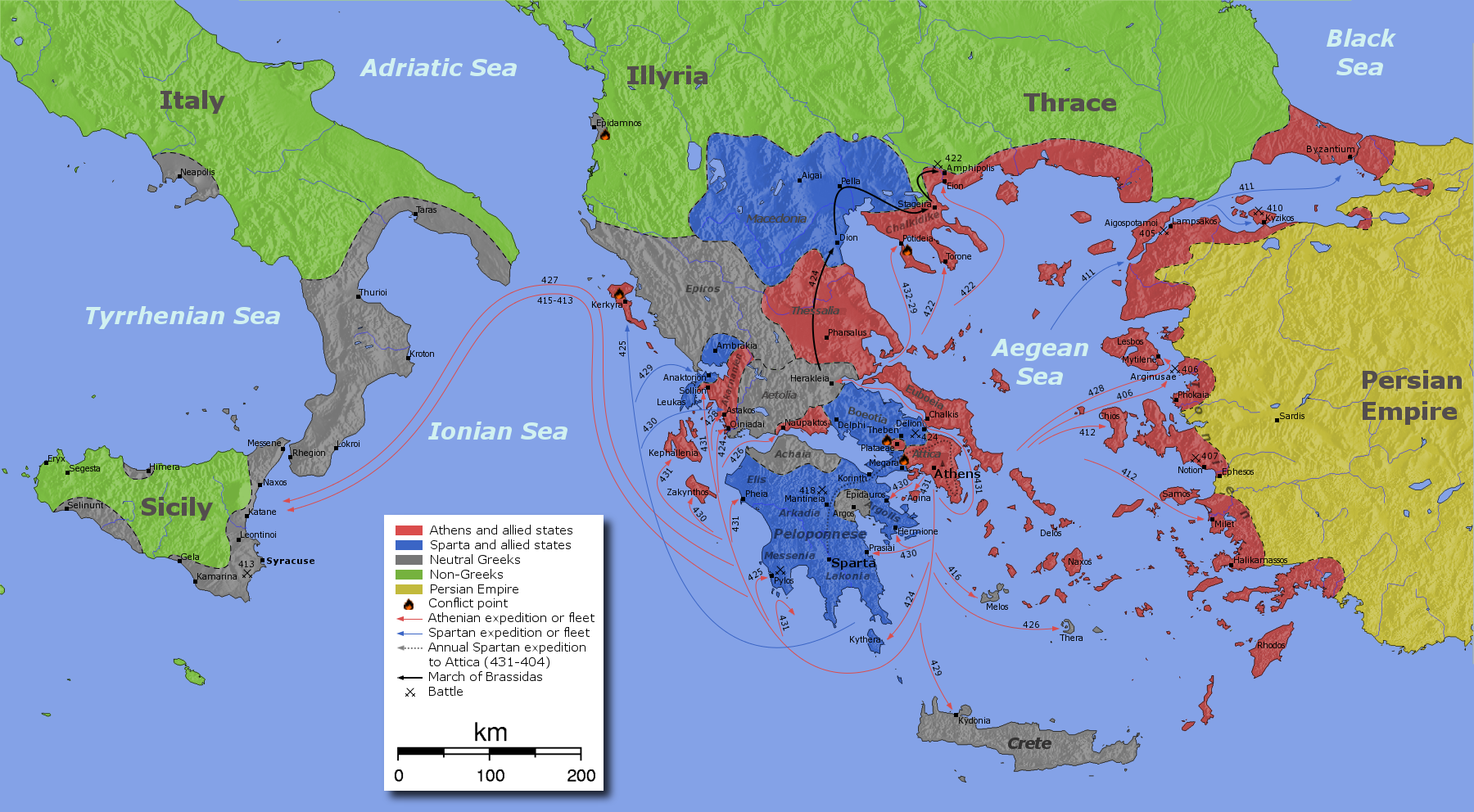 Map of The Peloponnesian War 431404 BC 1800x992 MapPorn