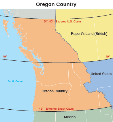 figure 1113 this map of the oregon territory during the period of joint occupation by the united states and great britain shows the area whose ownership