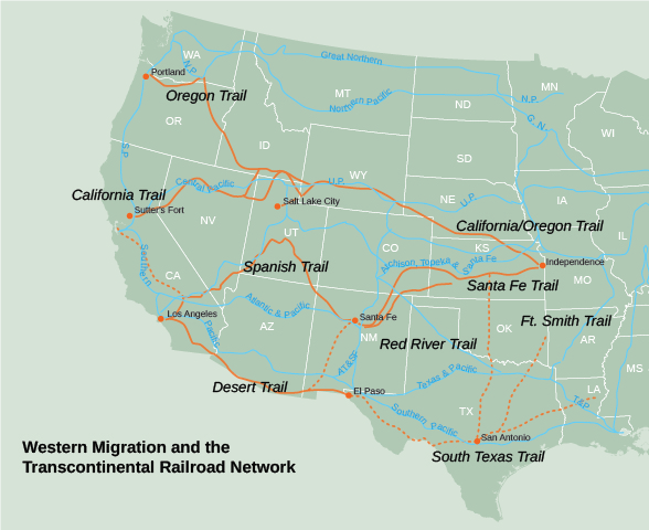 The second period of us westward expansion 1840 1900 figure 176 this map shows the trails orange used in westward migration and the development of railroad lines blue constructed after the completion of freerunsca