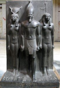 an analysis of sculpture group of king menkaure and his queen The giza necropolis and other mastaba fields  the three king's pyramids at giza, this group included three  statue of menkaure and his mother or queen,.