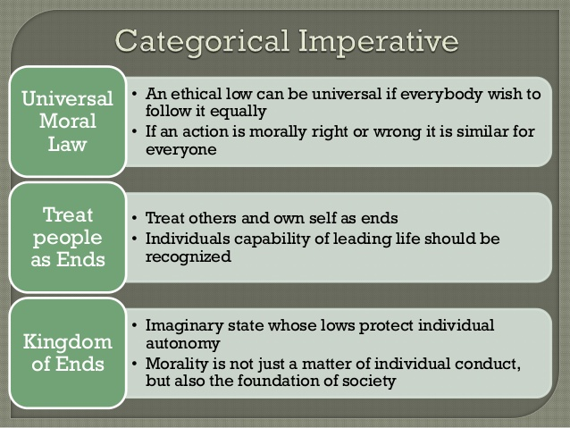 kant and categorical imperative Categorical imperative n in the philosophical system of immanuel kant, the requirement on any moral law that it apply unconditionally and equally to all.