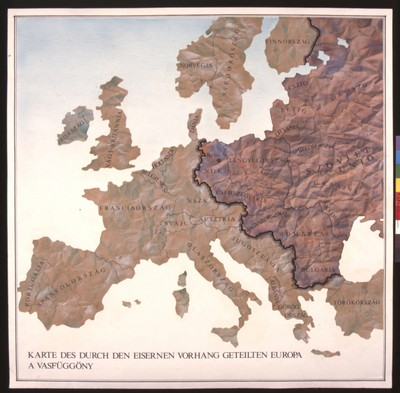 The transformative impact of world war ii in europe this hungarian map depicts the european continent with the familiar dividing line of the iron curtain which politically separated western europe from gumiabroncs Gallery