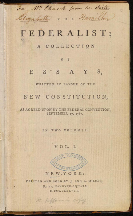 The Federalist Papers: The Federalist Papers, Which Advocate The  Ratification Of The Constitution.The Federalist Papers Are A Series Of 85  Essays Advocating ...