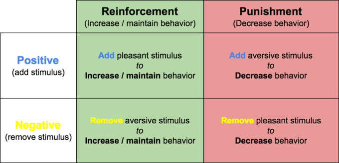 an examination of the two videos on operant conditioning and positive punishment Classical conditioning changing behavior through reinforcement and punishment: operant conditioning positive emotions: the power of happiness two.