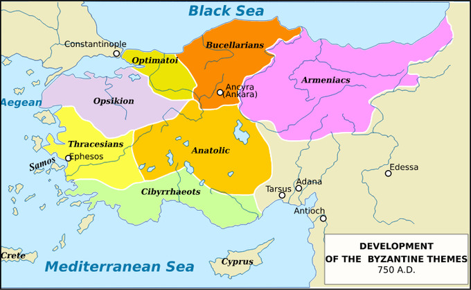 A history of the byzantine empire rome in the east the theme system map depicting the locations of the themes established during the heraclian dynasty of the byzantine empire publicscrutiny Choice Image