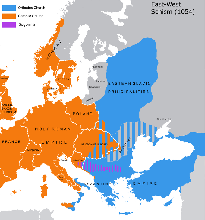 A history of the byzantine empire rome in the east the east west schism the religious distribution after the east west schism between the churches of the byzantine empire and the holy roman empire in 1054 publicscrutiny Choice Image