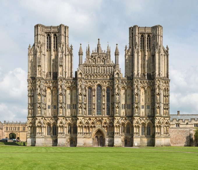 Wells Cathedral, Somerset, England: This Cathedral Showcases  Characteristics Of Gothic Architecture With The Pointed Arches, Vaulted  Roofs, Buttresses, ...
