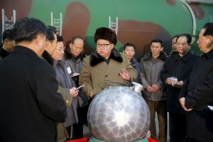 North Korean leader Kim Jong Un meets scientists and technicians in the field of researches into nuclear weapons in this undated photo released by North Korea's Korean Central News Agency (KCNA) in Pyongyang March 9, 2016. REUTERS/KCNA