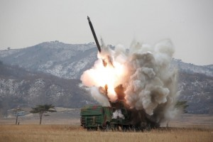 A new multiple launch rocket system is test fired in this undated photo released by North Korea's Korean Central News Agency (KCNA) in Pyongyang March 4, 2016. REUTERS/KCNA