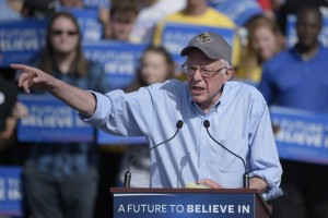 Democratic presidential candidate, Sen. Bernie Sanders, I-Vt. speaks during a campaign rally in Kissimmee, Fla., Thursday, March 10, 2016. (AP Photo/Phelan M. Ebenhack)