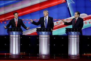 From left, Republican presidential candidate, Sen. Marco Rubio, R-Fla., Republican presidential candidate, businessman Donald Trump and Republican presidential candidate, Sen. Ted Cruz, R-Texas, speak and gesture during a Republican presidential primary debate at The University of Houston, Thursday, Feb. 25, 2016, in Houston. (AP Photo/David J. Phillip)