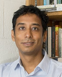 Photograph of Anand Pandian, an associate professor in the Johns Hopkins Department of Anthropology on 11/19/13 for Hopkins Magazine.