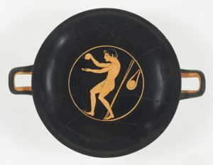 Wine Cup with an Athlete Applying Oil