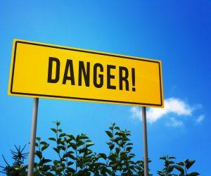Danger! on Road Sign