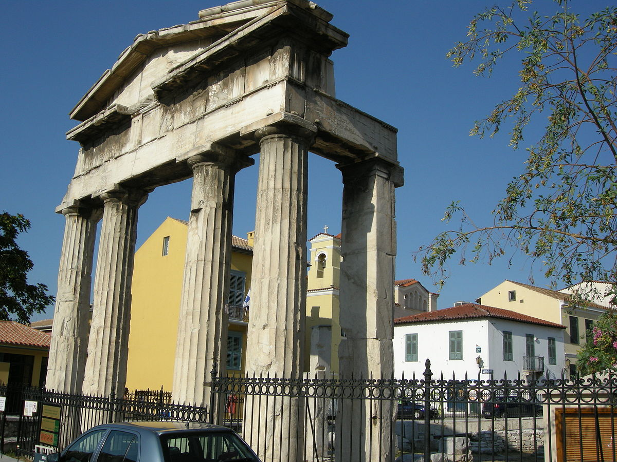 Roman agora entrace athens wikimedia commons