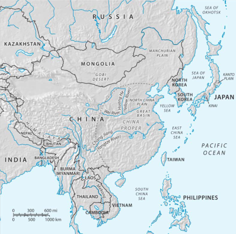 Map Of East Asia Yangtze River.History Of China And East Asia To The Ming Dynasty