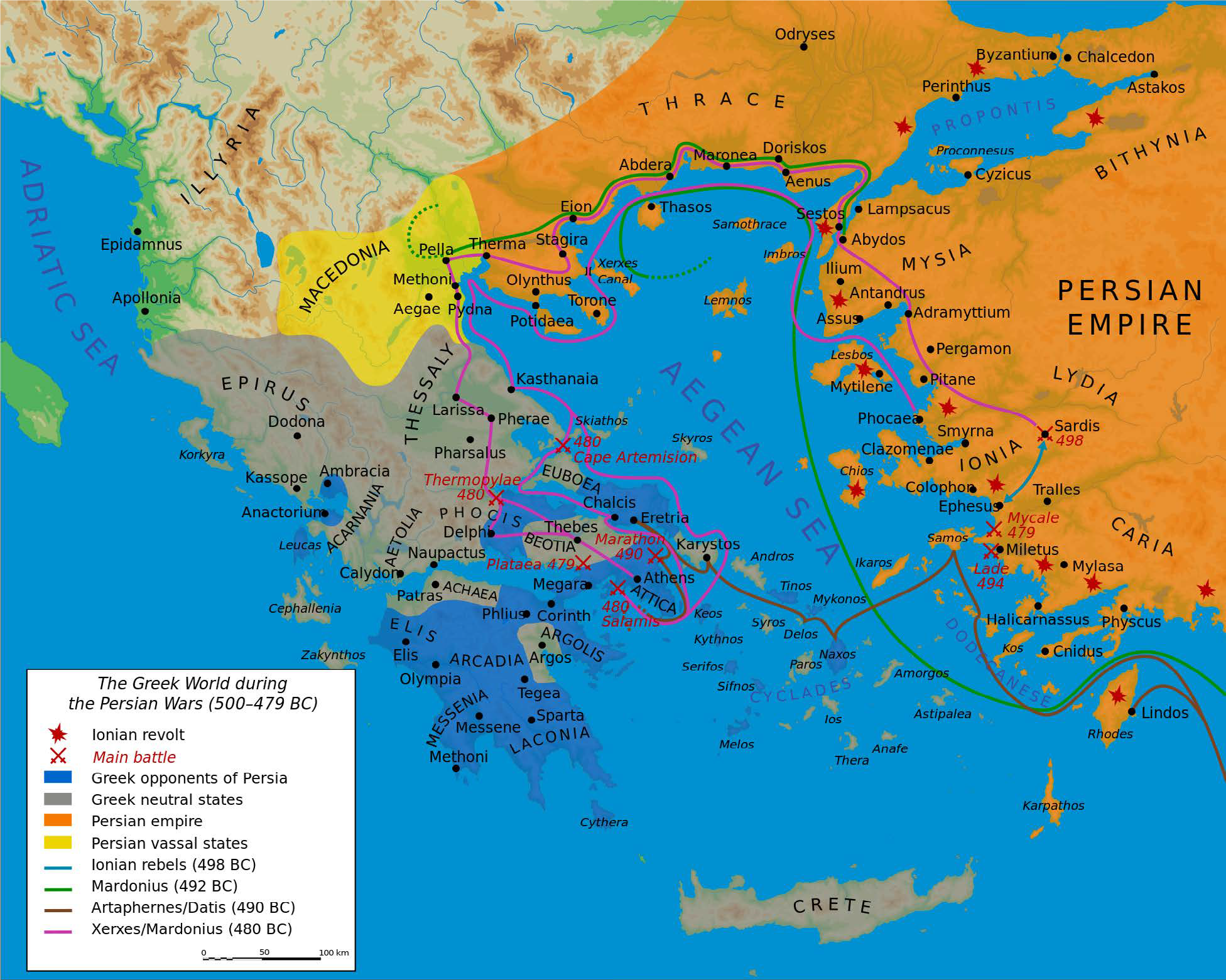Topographic Map Of Ancient Greece.The Greek World From The Bronze Age To The Roman Conquest