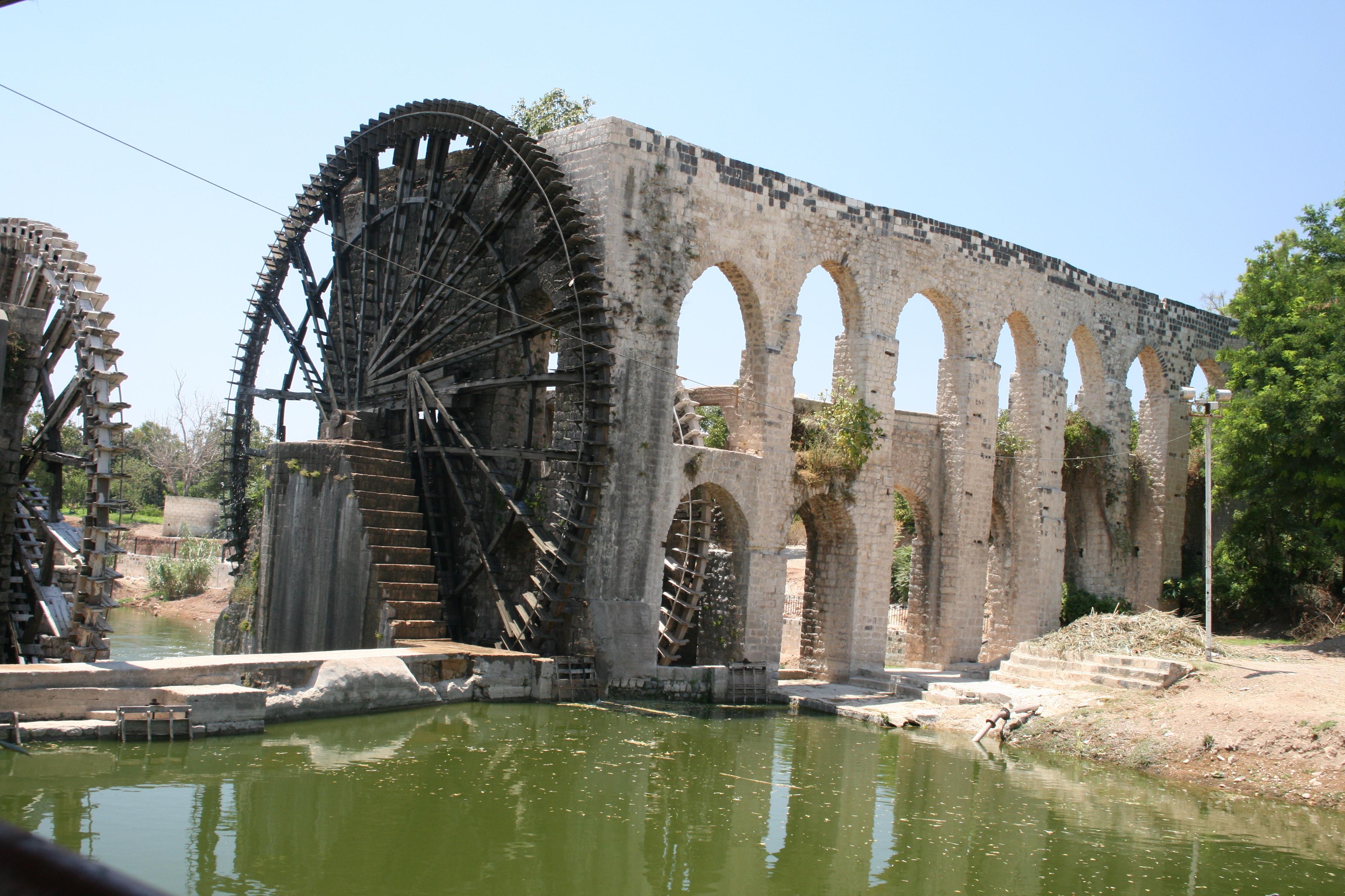 ancient water technology roman medieval waterwheel tools wheel noria wheels mill hama mesopotamia triumphs aqueduct rome syria failures resource middle