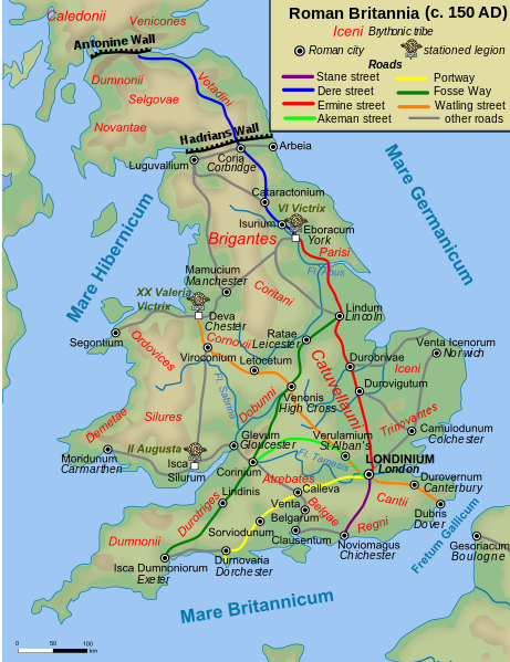 Map Of England 980 Ad.The Roads Of Roman Britain